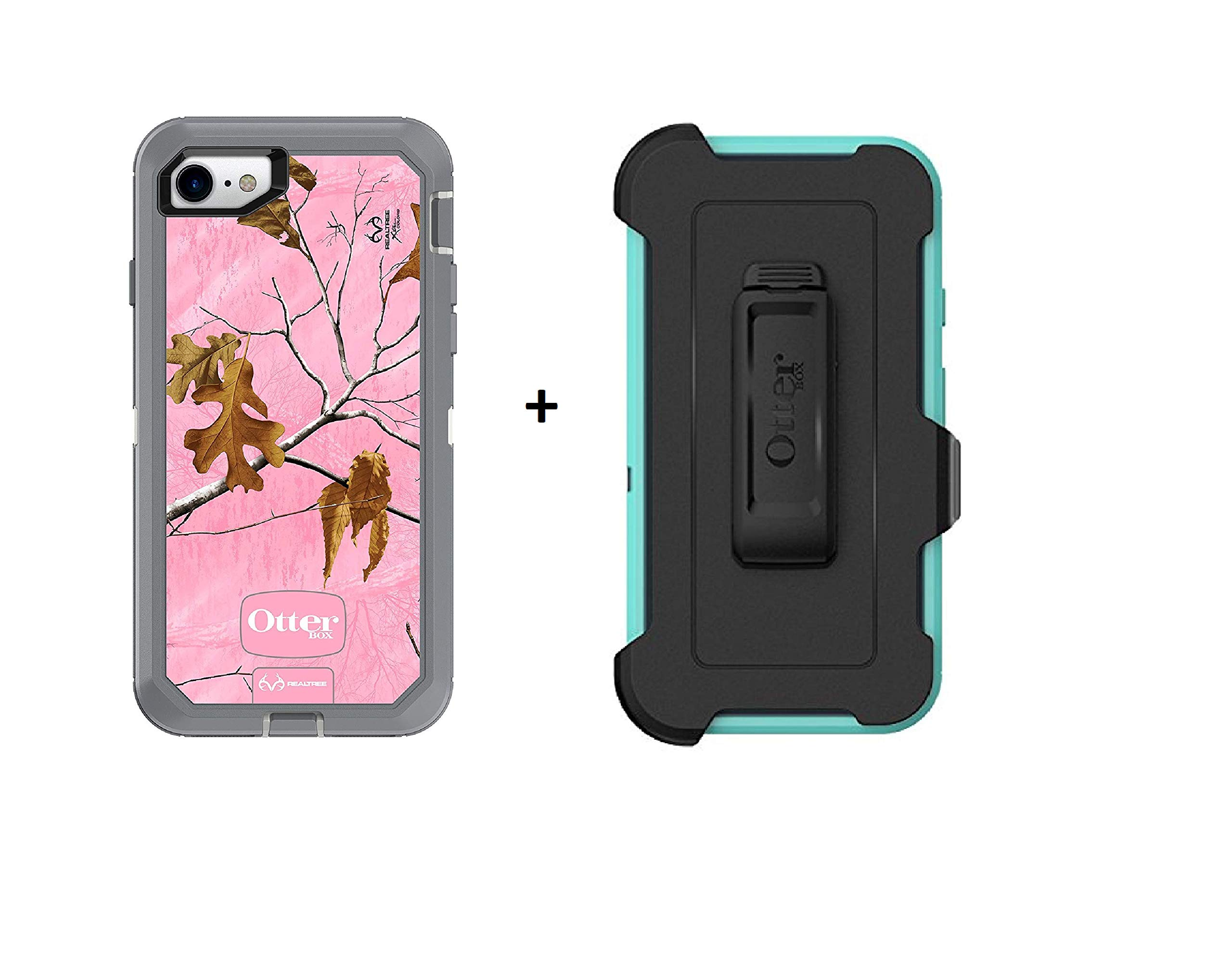 OtterBox Defender Series Case for iPhone 8 & iPhone 7 (NOT Plus) + Belt Clip Holster - Realtree Xtra Pink (White/Gunmetal Grey/Xtra Pink Design) ... by OtterBox