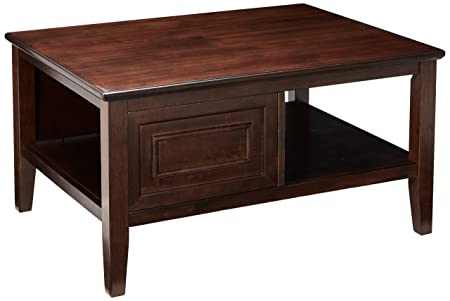 Ashley Furniture Signature Design – Larimer Coffee Table – Cocktail Height – Rectangular – Dark Brown
