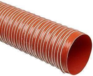 "Heat-Flex GS Fiberglass Duct Hose, Iron Oxide Red, 4"" ID, 12' Length"