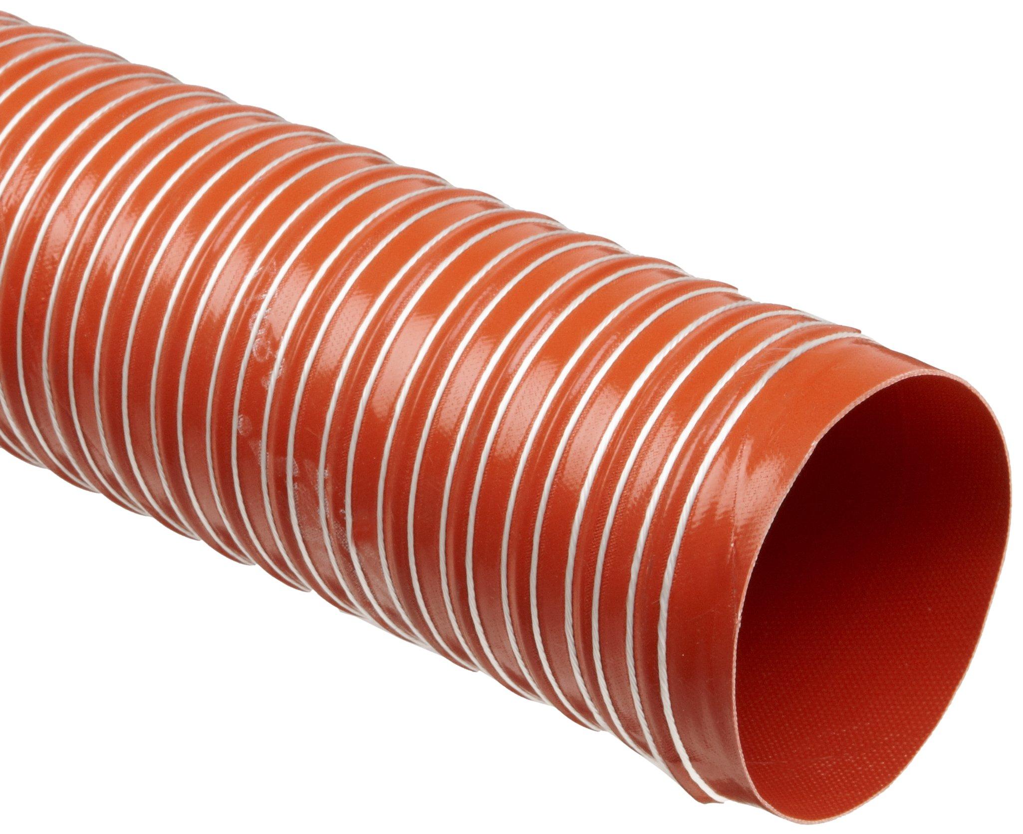 Heat-Flex GS Fiberglass Duct Hose, Iron Oxide Red, 4'' ID, 12' Length