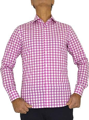 E. MECCI PROMOCIÓN DE Verano Camisa de Hombre Made in Italy 100% algodón Cuadro Rosa Slim Fit Manga Larga: Amazon.es: Ropa y accesorios