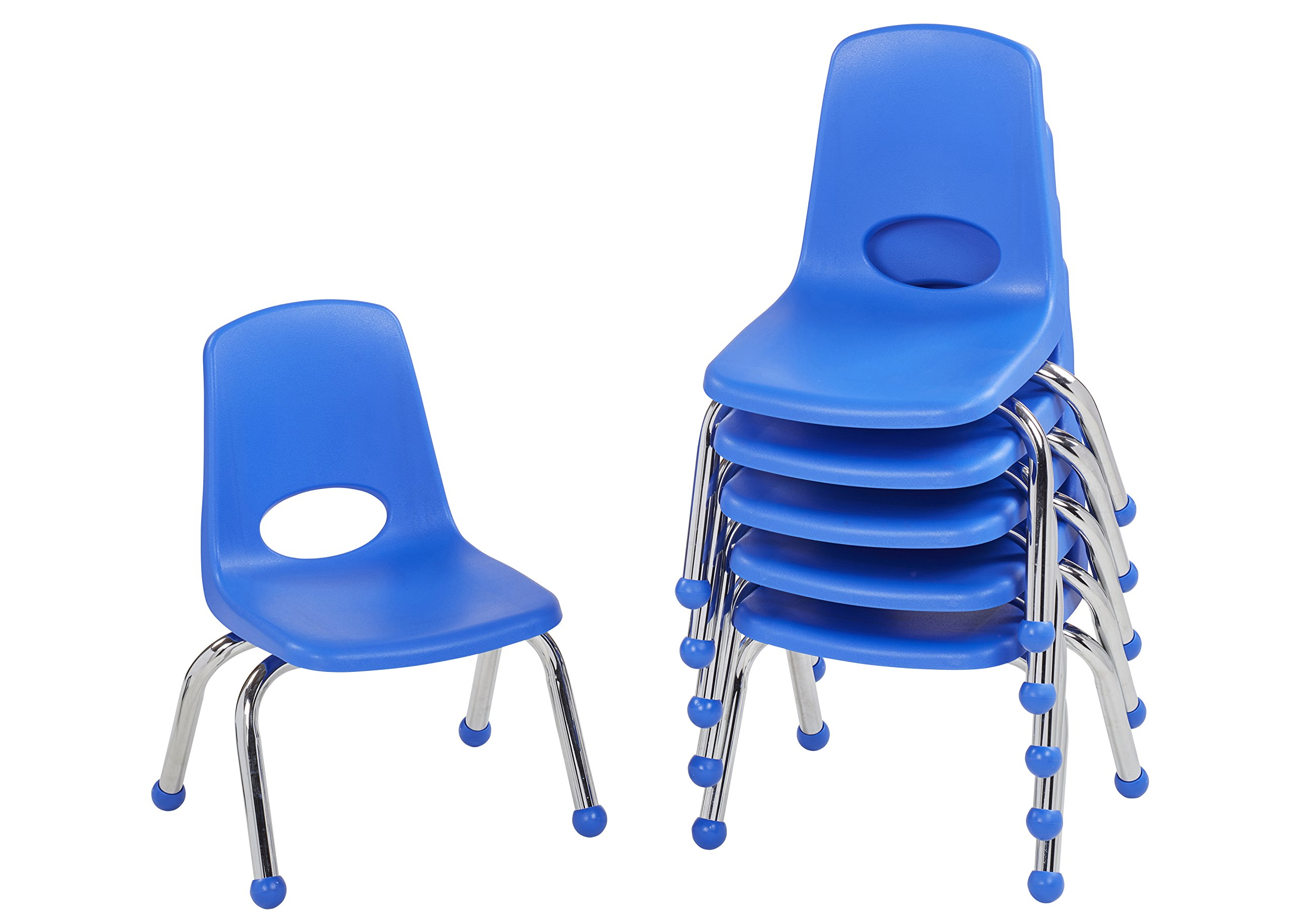 ECR4Kids 10'' School Stack Chair, Chrome Legs with Ball Glides, Blue (6-Pack)