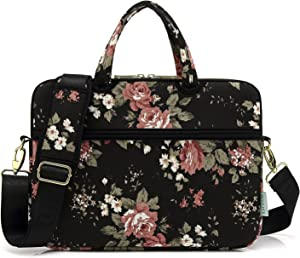kayond Black C Rose Patten water resistant Laptop Shoulder Messenger Bag Case Sleeve for 14 Inch 14.1 Inch Laptop,Laptop Briefcase