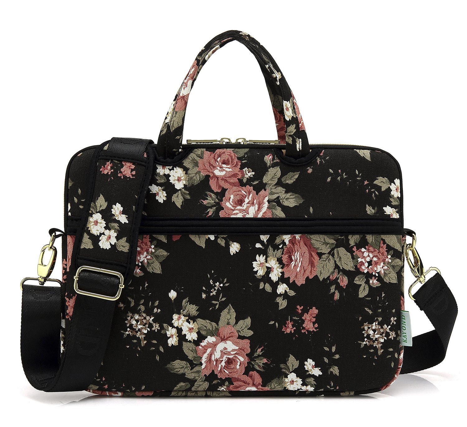 kayond Black Chinese Rose Canvas Fabric 15.6 inch Shoulder Bags