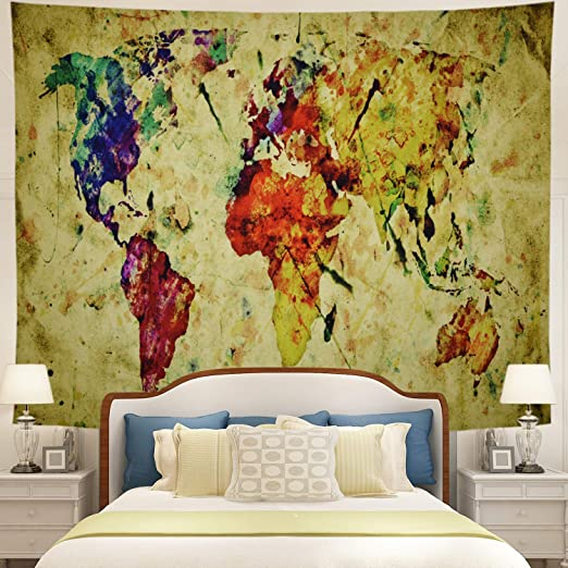 BLEUM CADE Blue Watercolor World Map Tapestry Abstract Splatter Painting Tapestry Wall Hanging Art for Living Room Bedroom Dorm Home Decor