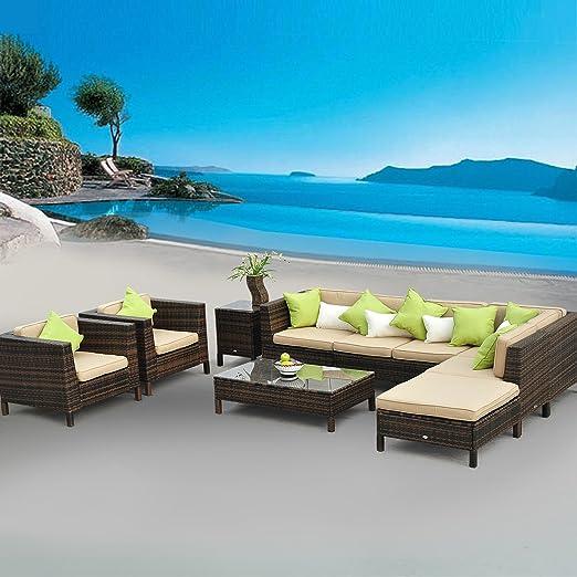 Homcom Ensemble salon de jardin luxe modulable alu canapé résine rotin  tressé avec coussins brun neuf 10
