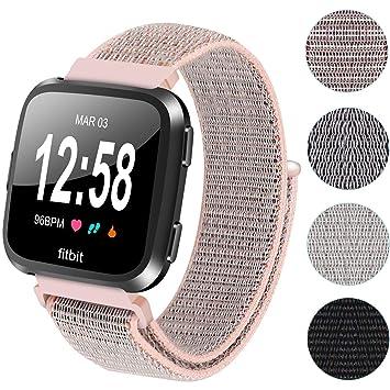 Ruentech pour Fitbit Versa Sangle en nylon Bracelet de remplacement en nylon tissé Boucle respirant réglable