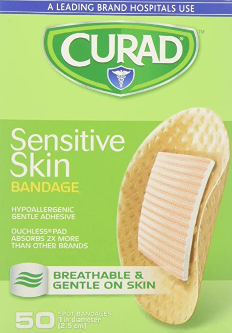 ihocon: Curad Sensitive Skin Bandages Spots 50 Each 敏感肌用創可貼/OK繃