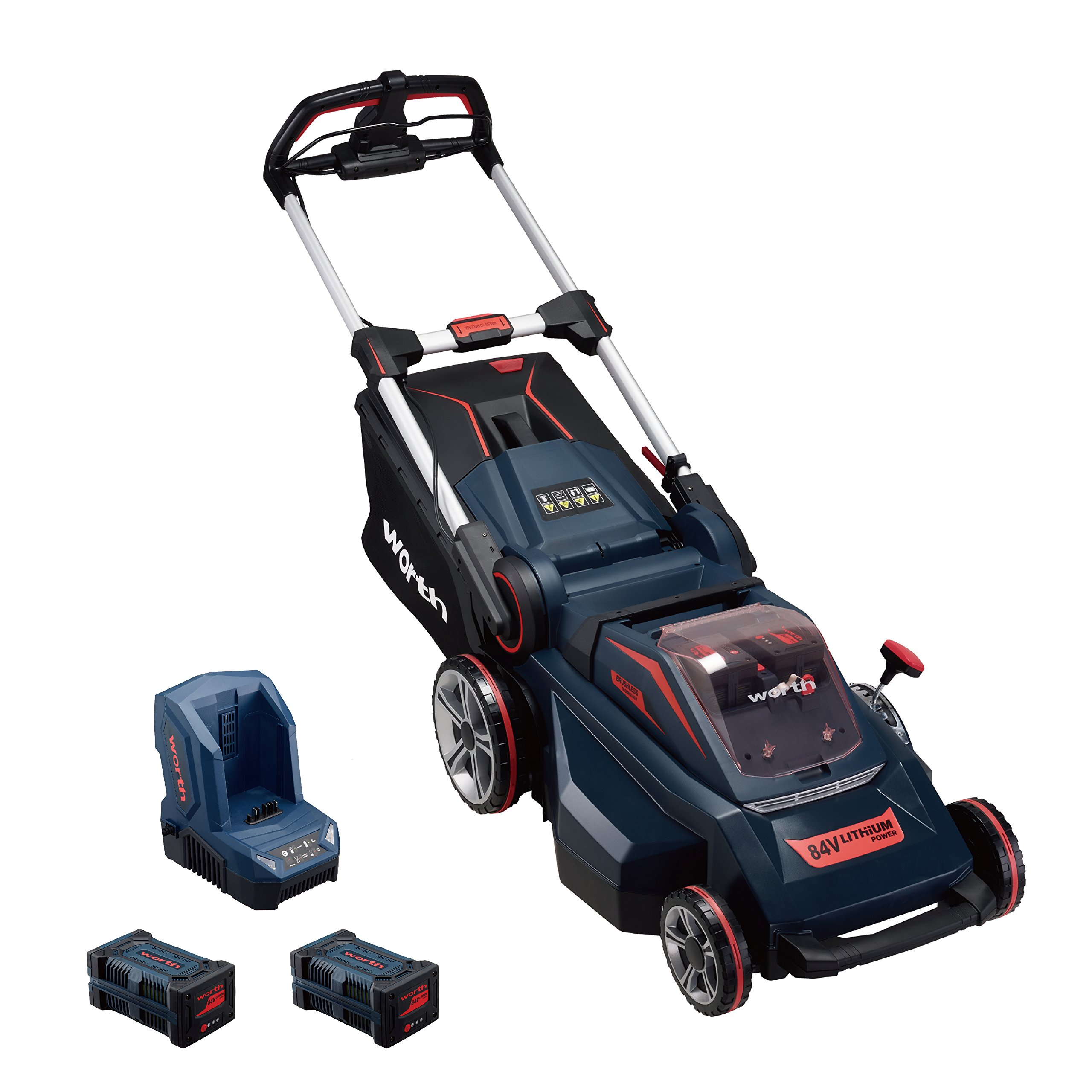Worth Garden PowerMax 84V Lithium Battery Lawn Mower - Self Propelled Heavy Duty Lawn Mower - Brushless Motor Cordless Lawn Mower - Smart Cut(TM) Technology for Uneven Terrain - 3 Year Warranty Foldab
