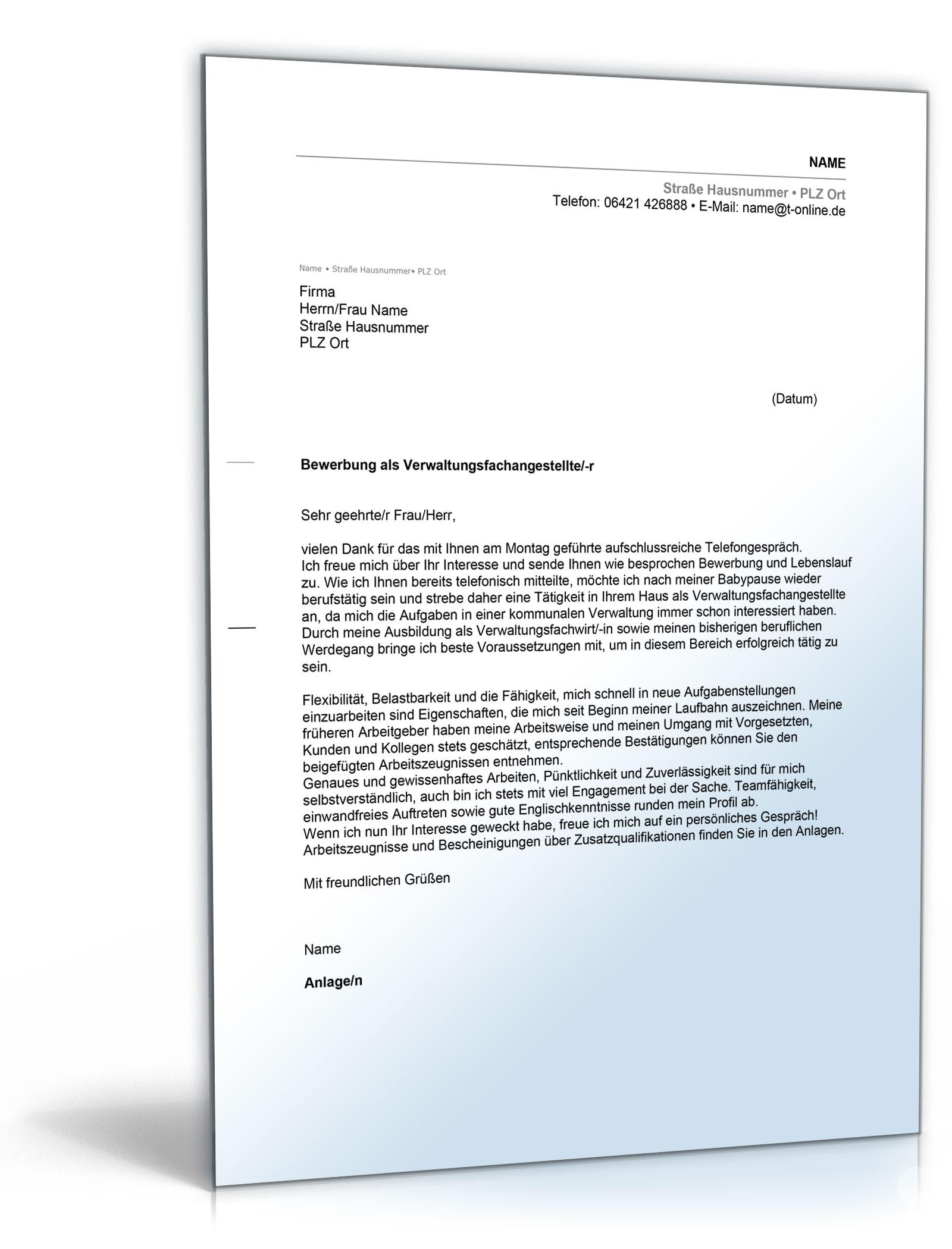Anschreiben Bewerbung Verwaltungsfachangestellte [Word Dokument
