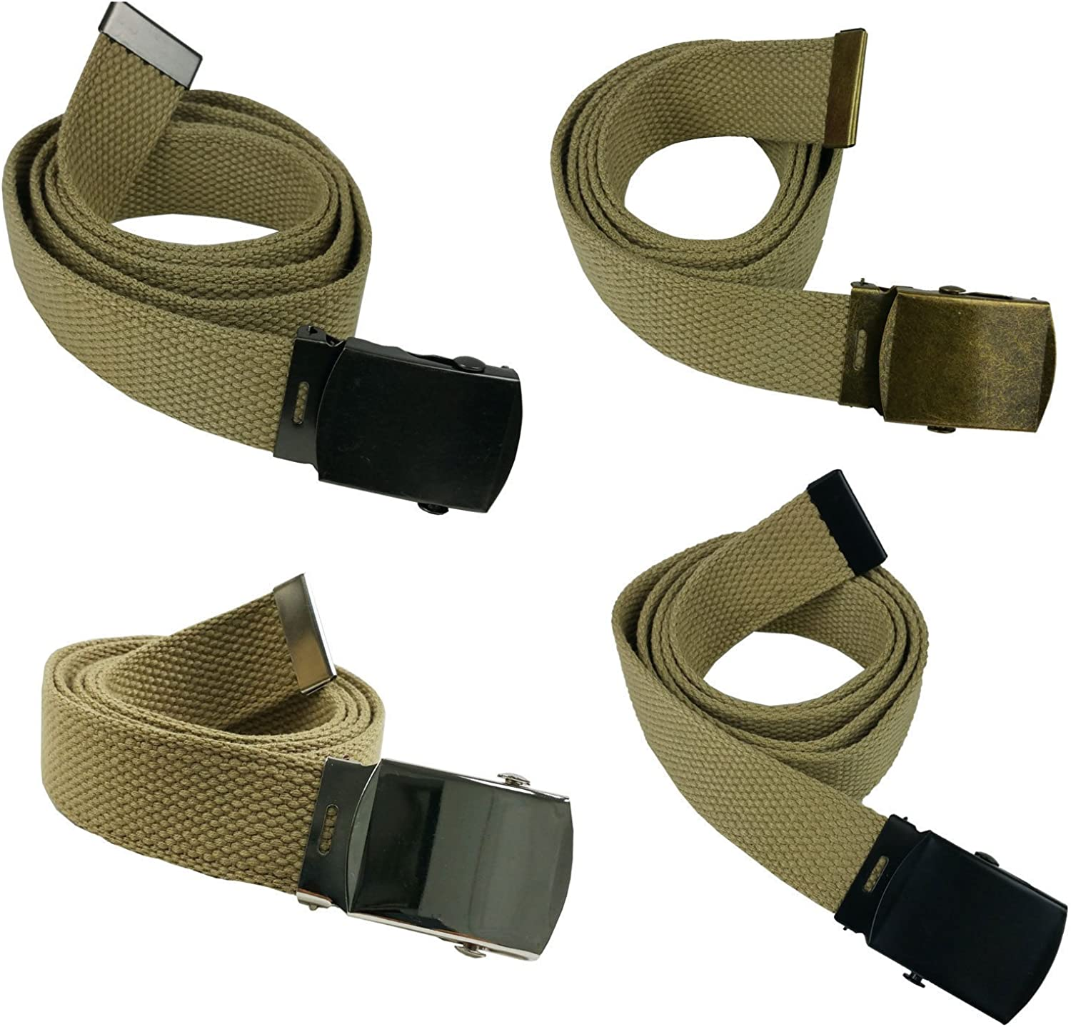 Top Quality 48 Khaki Canvas Military Army Style Belt with Silver Buckle #JJAS
