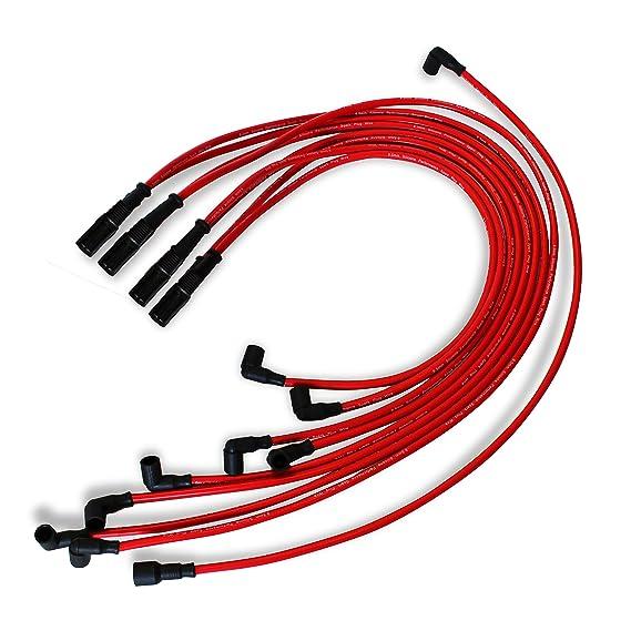 9,5 mm rojo recto Bujía Cables distribuidor Hei para Chevy BBC SBC SBF 302 350: Amazon.es: Coche y moto