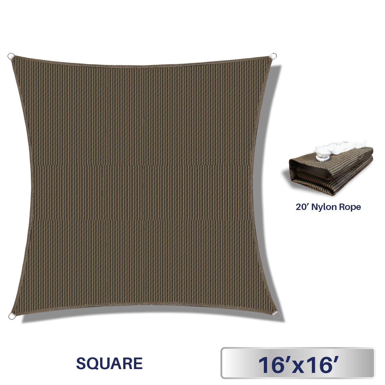 Windscreen4less Sun Shade Sail Outdoor Patio Backyard UV Block Awning Steel D-Rings 16ft x 16ft Brown Coffee Square - Custom