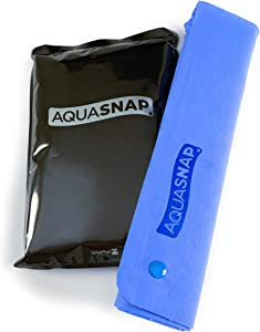 AQUASNAP Quick Dry Towel/Cooling Towel | Perfect Swim Towel, Gym Towel or Travel Towel | Absorbent and Soft | Convenient Snap Button Design