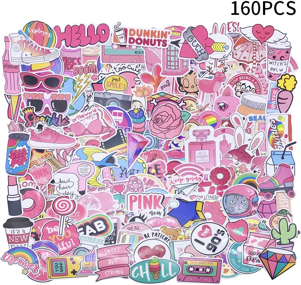 Yizeda 160 PCS Girl Cute Lovely Laptop Stickers Pink Decorative-Stickers Phone Guitar Water Bottle Motorcycle Skateboard Bicycle Bike Sticker Decal