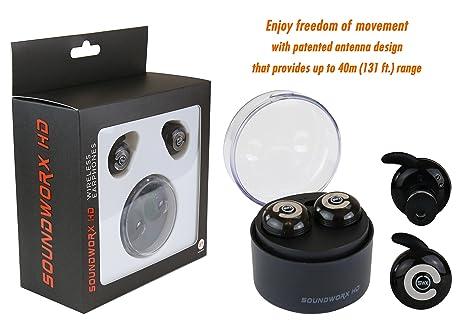Soundworx Bluetooth V4.1 Audifonos Inalambricos con Microfono y Base Cargadora (Alcance de 40