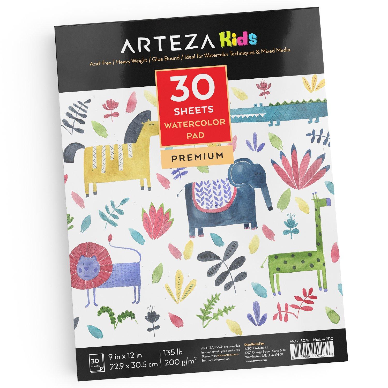 Arteza Kids Aquarellblock für Kinder — Weißes Malpapier für ...