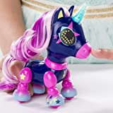 Zoomer - Zupps Tiny Unicorns, Midnight, Interactive Unicorn with Light-up Horn, for Ages 4 and Up