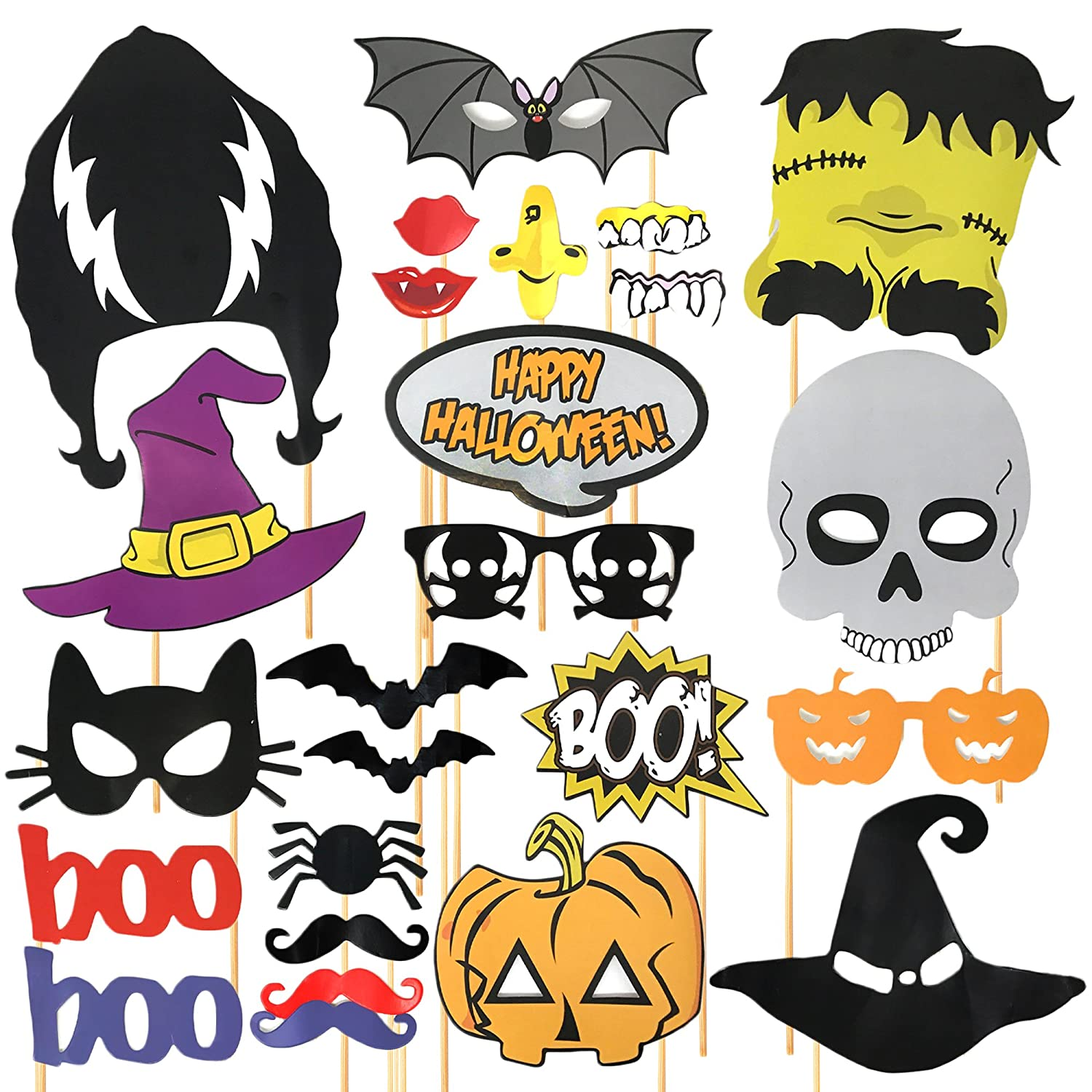 24 Pieces Halloween Party Photo Booth Props, including Extra Large Props! – Perfect for Parties – Impromptu Fancy Dress THE TWIDDLERS