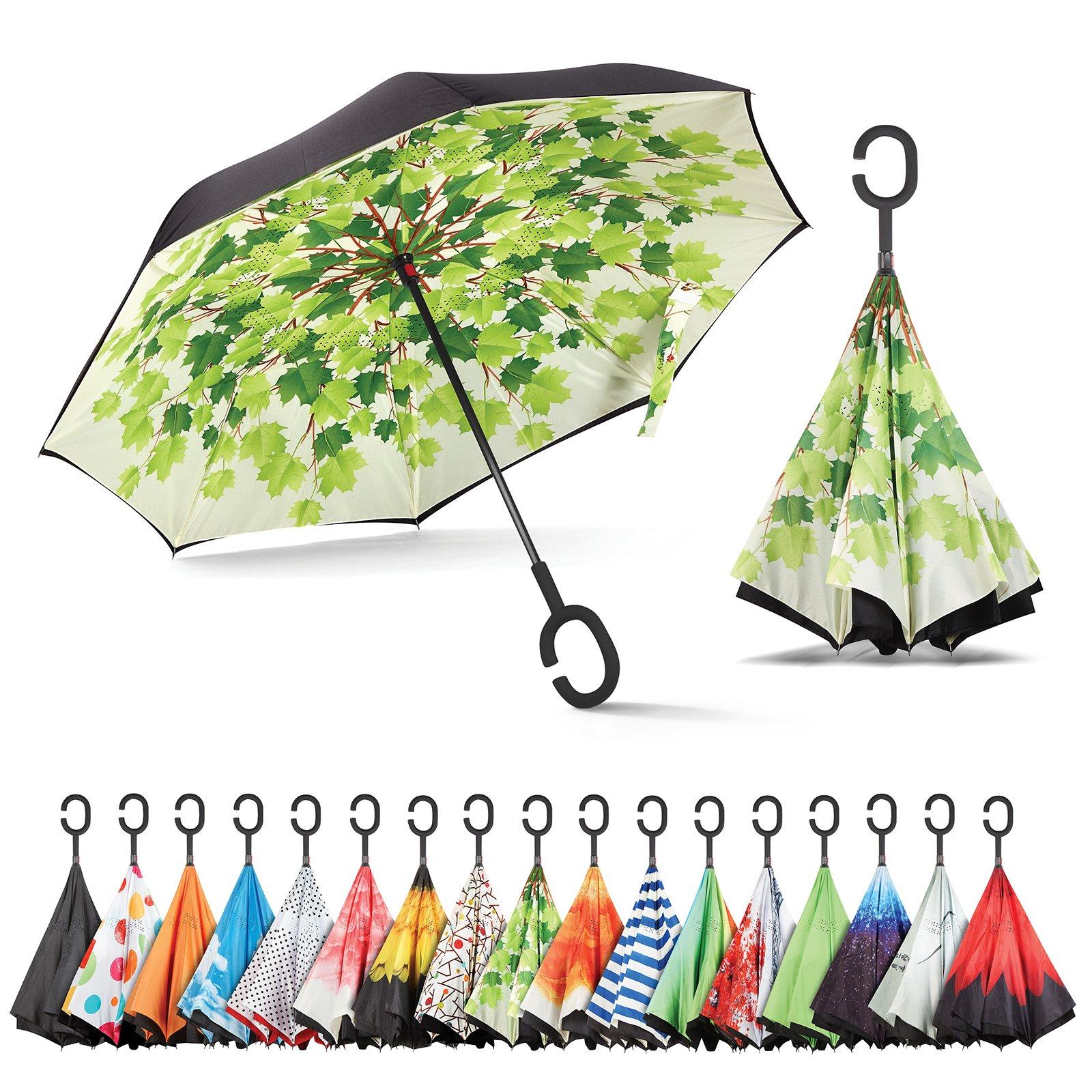 Sharpty Inverted Umbrella, Umbrella Windproof, Reverse Umbrella, Umbrellas for Women with UV Protection, Upside Down Umbrella with C-Shaped Handle (Green Shade)