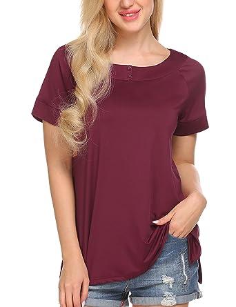 0206533195 Finejo Women s Short Sleeve Loose Fit Flowy Basic T-Shirt Tunic Top Blouse  Split Side