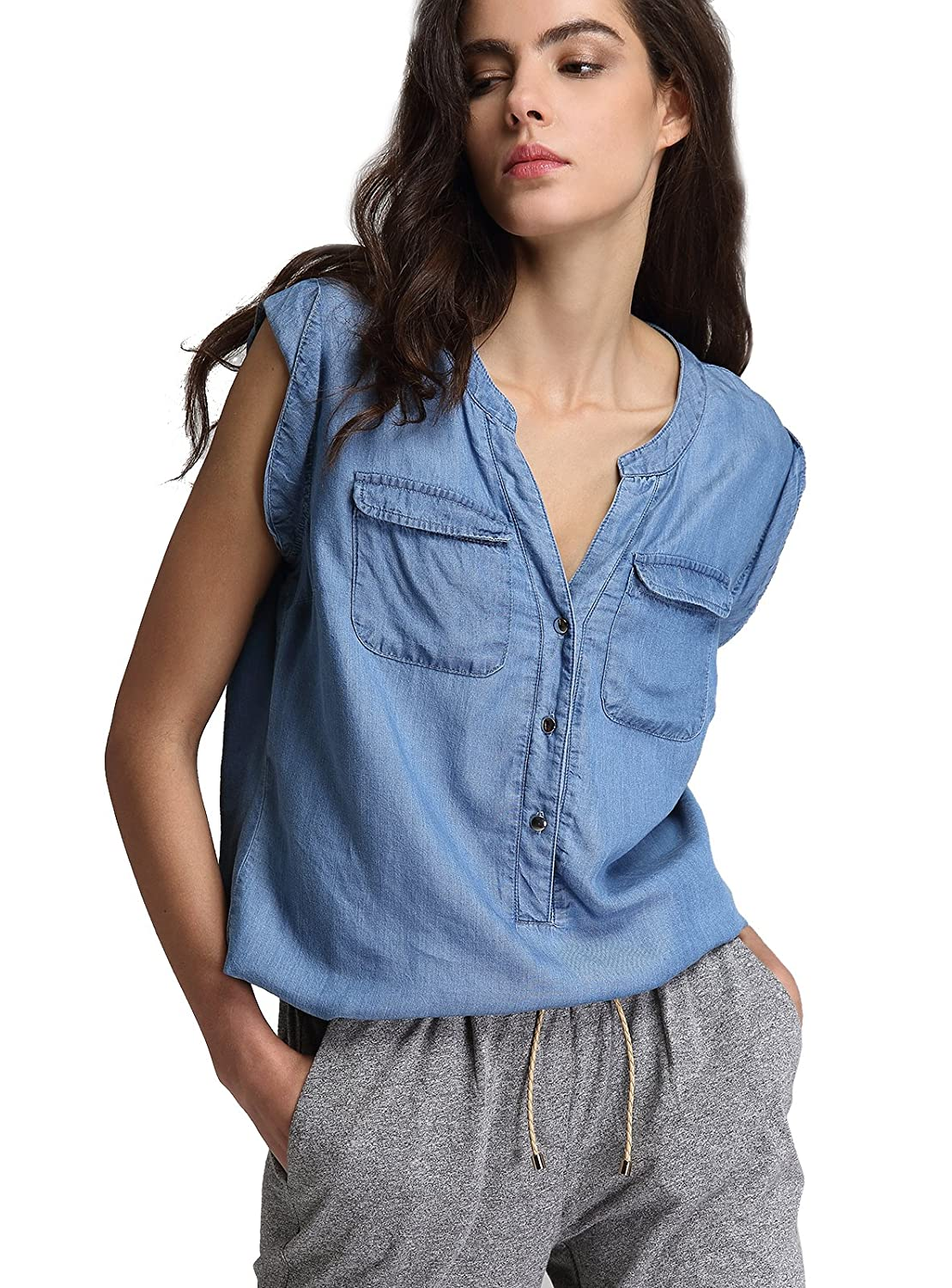 a933313d5 A classic tencel chambray casual style sleeveless denim shirt/blouse.  Feature:V-neck,Two front patch pockets,sleeveless western western denim  shirt