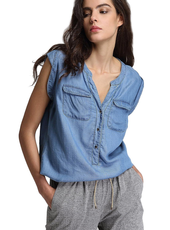 e73c8c02d51 100% Tencel A classic tencel chambray casual style sleeveless denim  shirt blouse. Feature V-neck