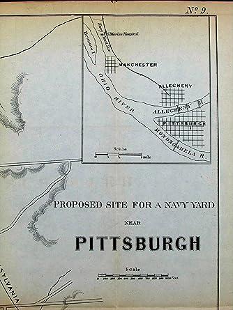 Manchester Ohio Map.Amazon Com Pittsburgh Pennsylvania Proposed Navy Yard Manchester C
