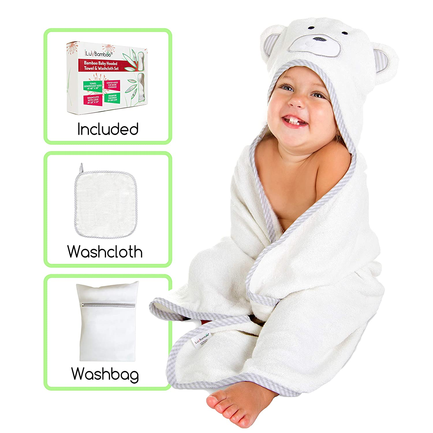 iLuvBamboo Baby Hooded Towel & Washcloth Set - Includes Washbag - Extra Large 28' x 40' - Soft, Thick & Absorbent Unisex White Gray Bear Design - Best for Newborns & Toddlers - Boys and Girls Page 9