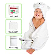 iLuvBamboo Baby Hooded Towel & Washcloth Set - Includes Washbag - Extra Large 28  x 40  - Soft, Thick & Absorbent Unisex White Gray Bear Design - Best for Newborns & Toddlers - Boys and Girls
