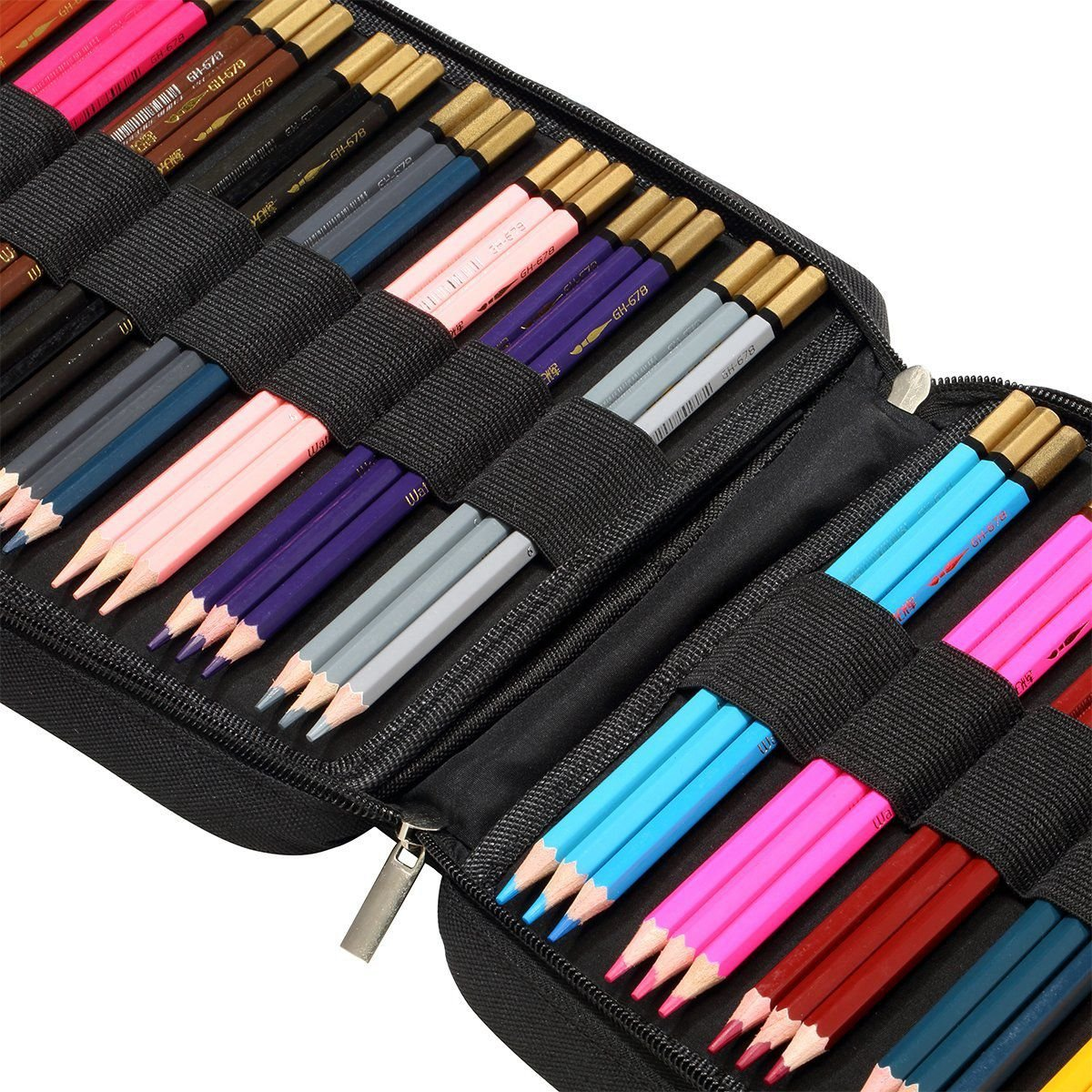 Nrpfell 150 Slots Colored Pencils Universal Pencil Bag Pen Case School Stationery PencilCase Drawing Painting Storage Pouch Pencil Box (Black) by Nrpfell (Image #5)