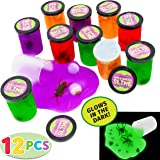 12 Halloween Jelly Putty Clear Slime |58 oz Total Plastic Bugs – Fake Cockroaches, Worms, Spiders Eyeballs, Spider Rings Halloween Goody Bag Filler, Party Favor Supply Decoration. Non-Toxic.