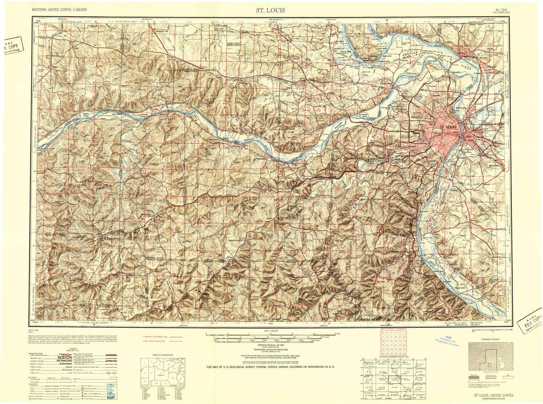 Amazon.com : YellowMaps St Louis MO topo map, 1:250000 Scale, 1 X 2 ...