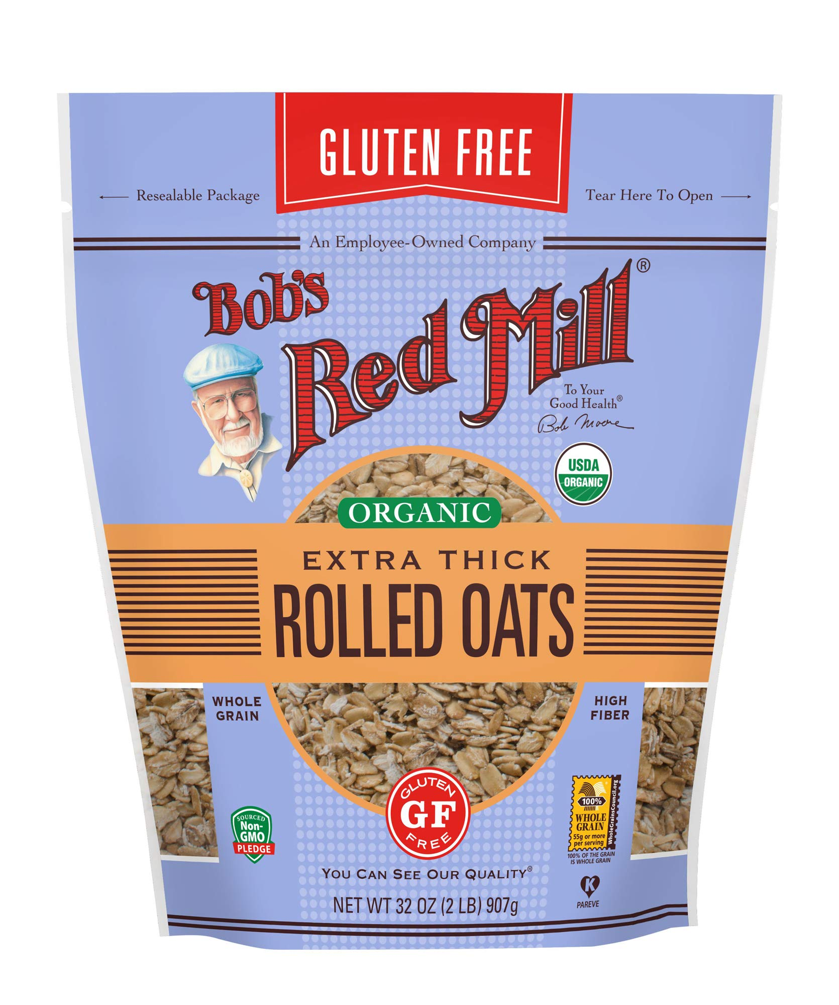 Bob's Red Mill Gluten Free Organic Extra Thick Rolled Oats, 32 Oz (4 Pack) by Bob's Red Mill