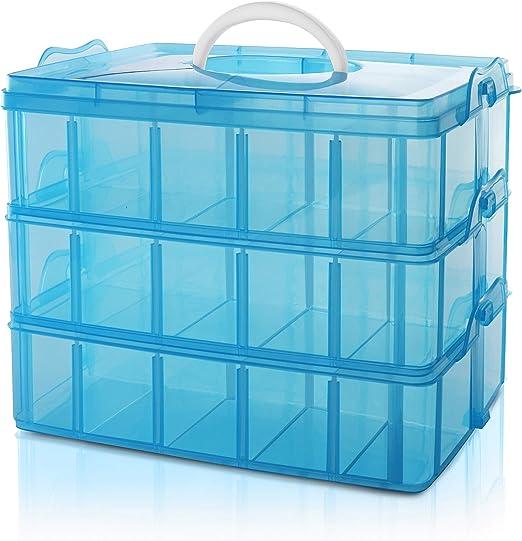 BELLE VOUS Caja Almacenamiento Plastico Azul 3 Niveles - Ranuras ...