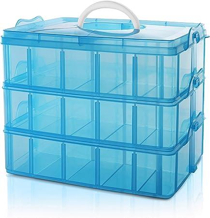 BELLE VOUS Caja Almacenamiento Plastico Azul 3 Niveles - Ranuras de Compartimentos Ajustables - Caja Organizadora Plastico Transparente - Máximo 30 Compartimentos - Guardar Juguetes Joyas, Cuentas: Amazon.es: Hogar