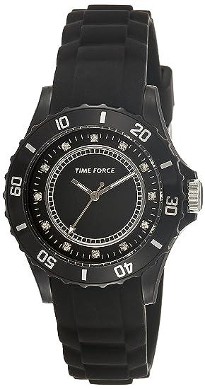 Reloj TIME FORCE de señora. Caucho negro. Piedras brillantes TF-4024L01: Amazon.es: Relojes