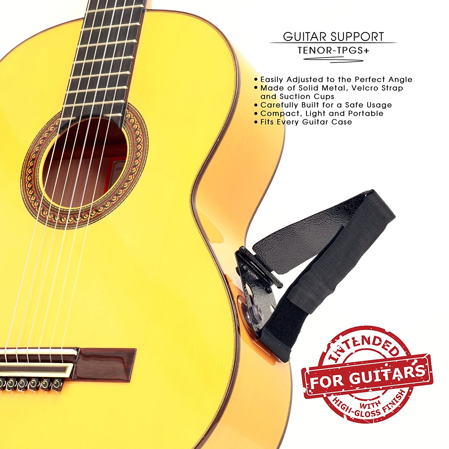 TENOR TPGS+ Professional Ergonomic Guitar Rest, Guitar Lifter, Guitar Foot Stool, Footstool Strap, Professional Posa Guitar Support for Classical, Flamenco, Acoustic or Arch Top Guitar Players TENOR-TPGS