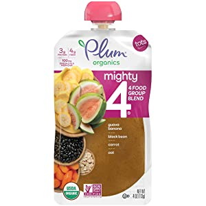 Plum Organics Mighty 4, Organic Toddler Food, Guava, Banana, Black Bean, Carrot and Oat, 4 Ounce (Pack of 12) (Packaging May Vary)