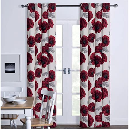 Sandown And Bourne Poppy Floral Print Lined Eyelet Curtains Red 66quot
