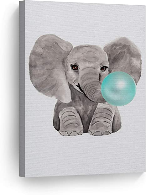 Amazon Com Smile Art Design Cute Baby Elephant Animal Bubble Gum Art Teal Blue Canvas Print Watercolor Painting Wall Art Home Decoration Pop Art Kids Room Decor Nursery Ready To Hang Made In