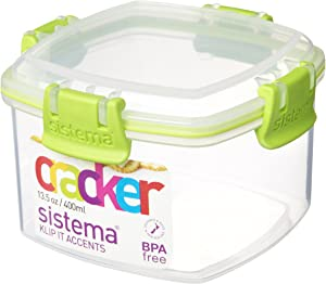 Sistema 400ml Polyproplene Cracker Container Clips and Seals,Lime/ Aqua/ Purple/ White
