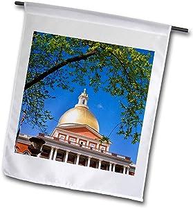 3dRose Danita Delimont - Massachusetts - The Massachusetts State House, Boston, Massachusetts, USA. - 12 x 18 inch Garden Flag (fl_314839_1)