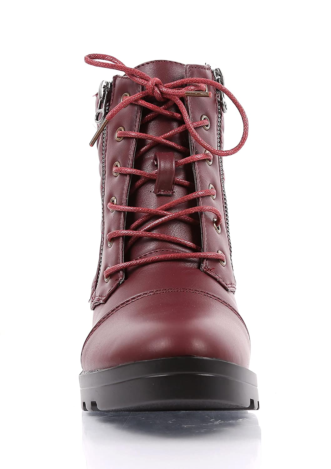 New 2 Colors Pu Leather Decoration Zipper Laces Womens Fashion Quilted Pattern Ankle-High Combat Boots Shoes