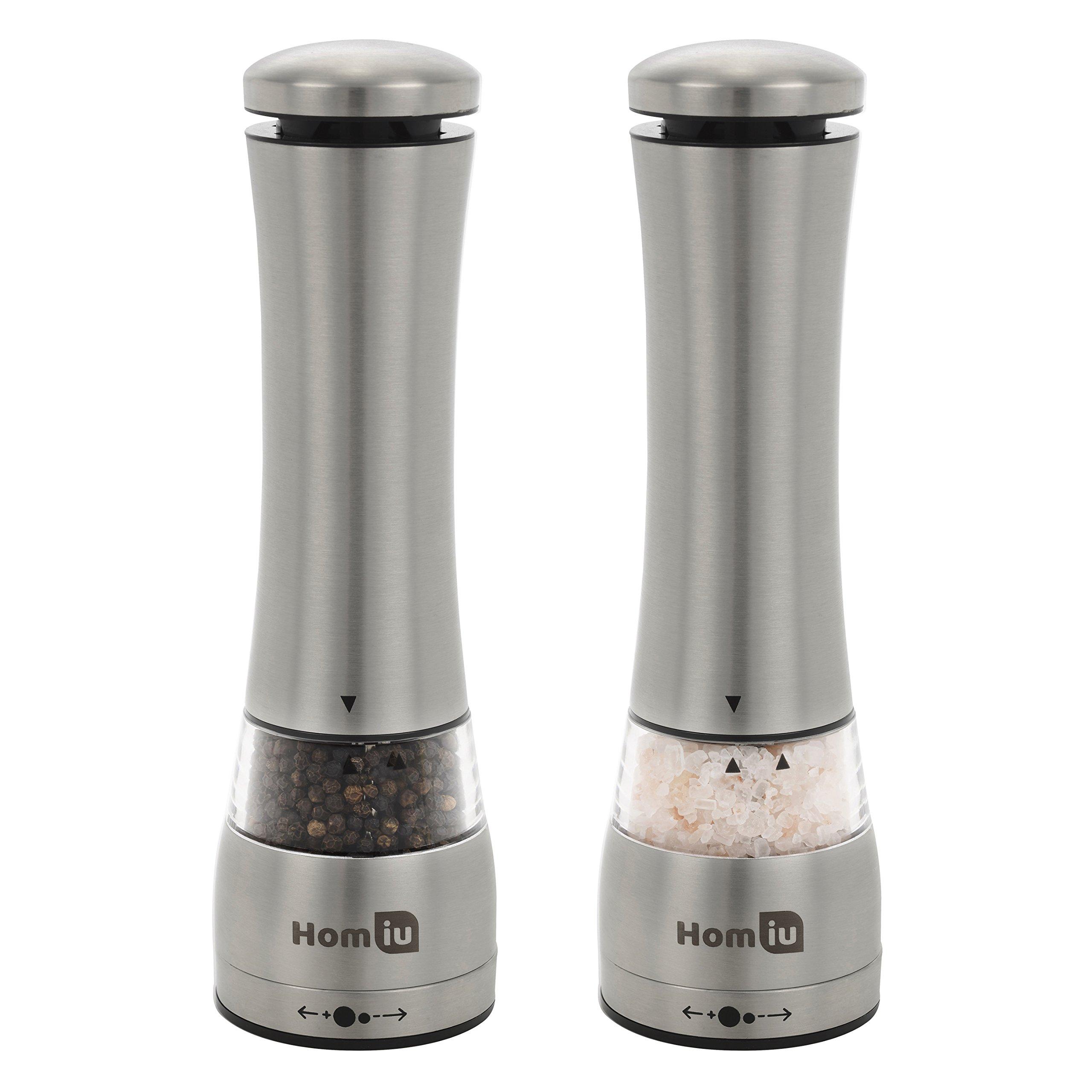 Homiu Illuminated Large Electronic Stainless Steel Salt & Pepper Mill Grinder Set with Adjustable Grinder - Silver