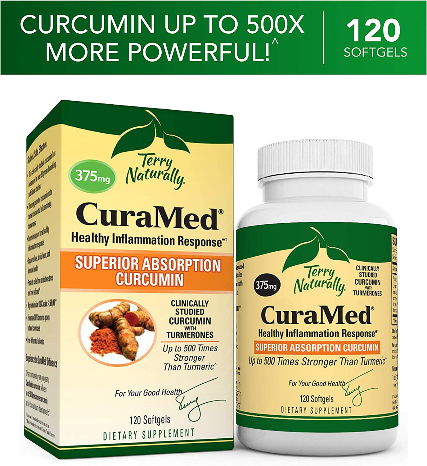 Terry Naturally CuraMed 375 mg – 120 Softgels – Superior Absorption BCM-95 Curcumin Supplement, Promotes Healthy Inflammation Response – Non-GMO, Gluten-Free, Halal – 120 Servings