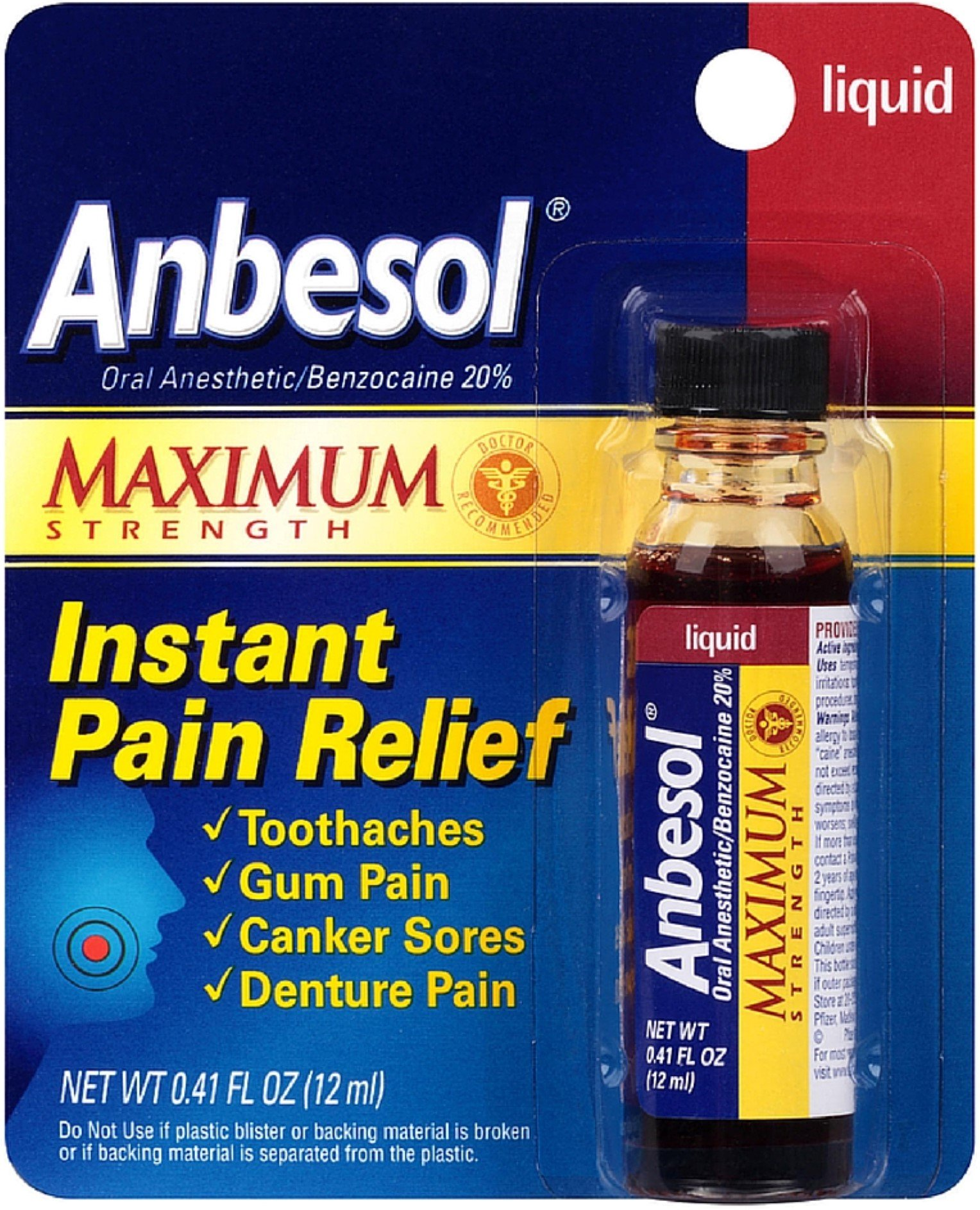 Anbesol Maximum Strength Instant Pain Relief Liquid 0.41 oz (Pack of 2)