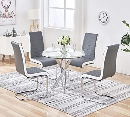 Cool Gizza Clear Round Glass Dining Table And 4 Chairs Streamline Side Grey Black White With Chrome Crisscrossing Metal Legs Restaurant Kitchen Room Set Ncnpc Chair Design For Home Ncnpcorg