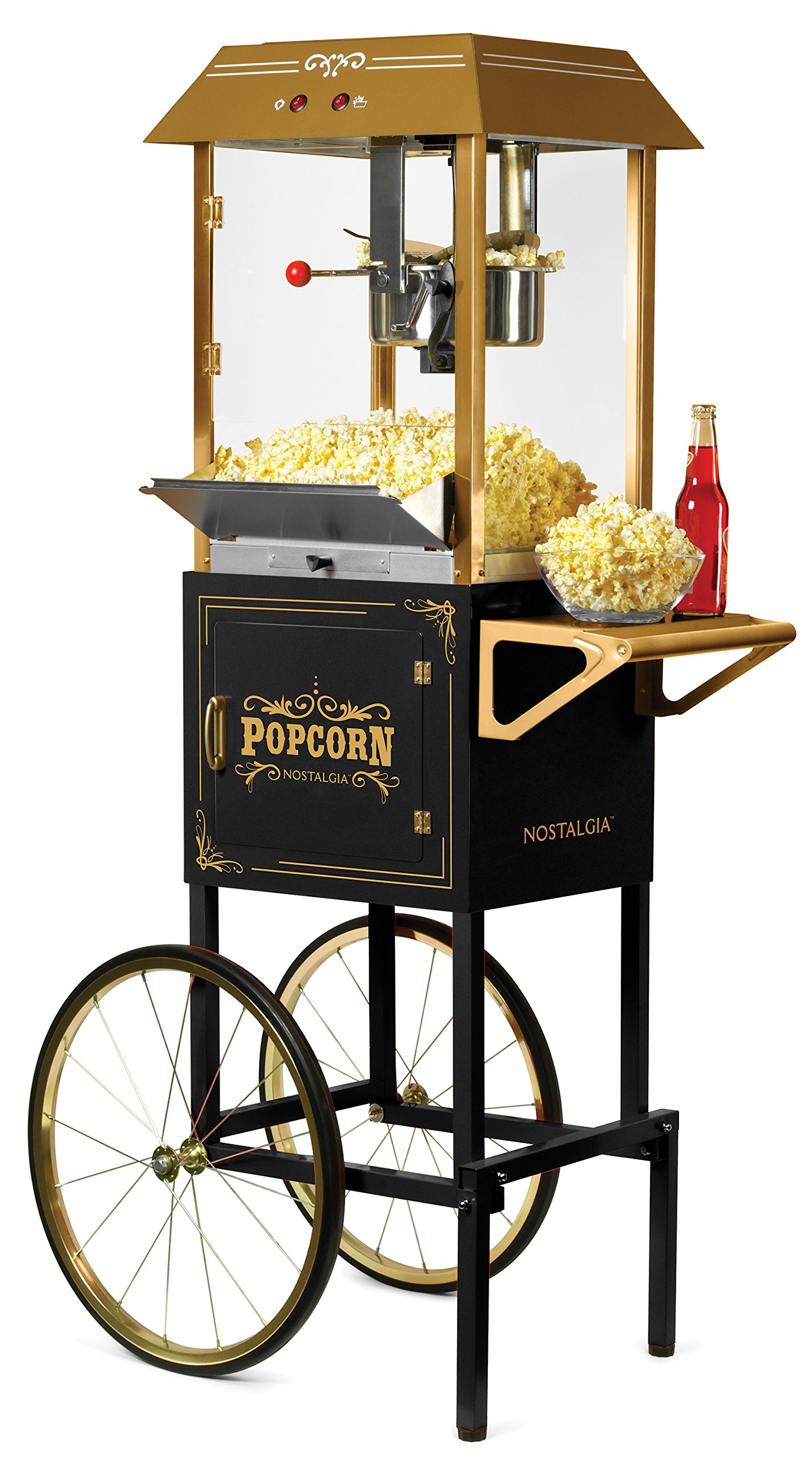 Nostalgia CCP1000BLK Vintage Professional Popcorn Cart - 59 Inches Tall, 10 oz, Black by NOSTALGIA
