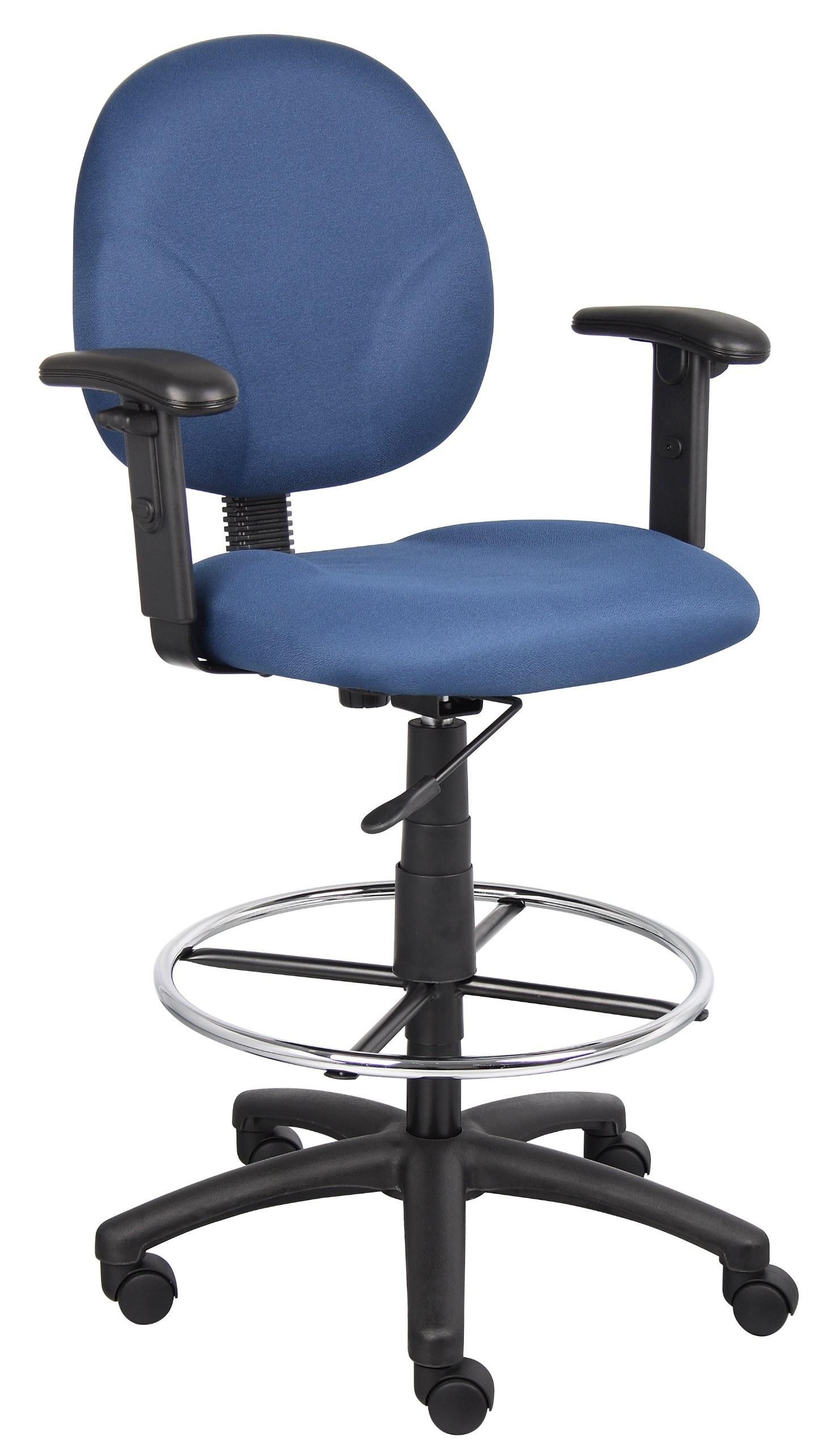Boss Office Products B1691-BE Stand Up Fabric Drafting Stool with Adjustable Arms in Blue